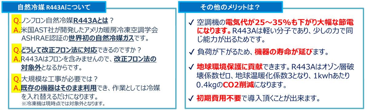 ノンフロン自然冷媒 R443A 交換サービス4